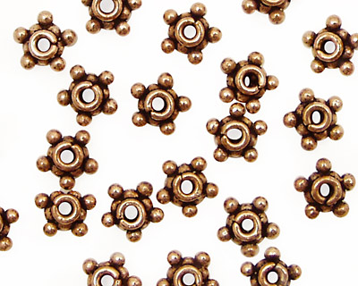 Antique Copper Beaded Star Heishi 8mm