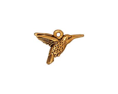 TierraCast Antique Gold (plated) Hummingbird Charm 19x14mm