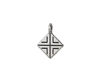 Antique Silver (plated) Geometric Diamond Pendant 13.5x18