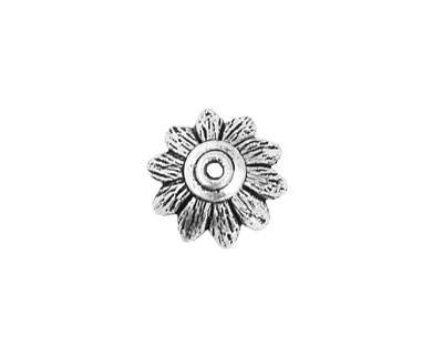 Pewter Sunflower Bead Cap 6x14mm
