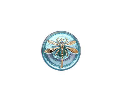 Czech Glass Iridescent Azure w/ Gold Dragonfly Button 18mm
