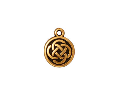 TierraCast Antique Gold (plated) Celtic Round Charm 12x15mm
