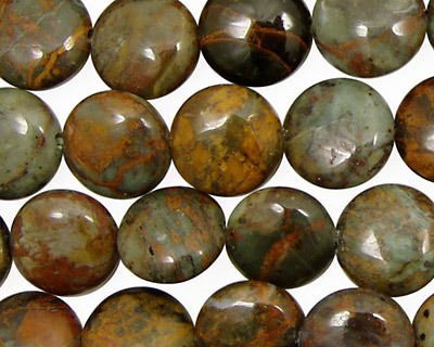 African Green Opal Puff Coin 12mm