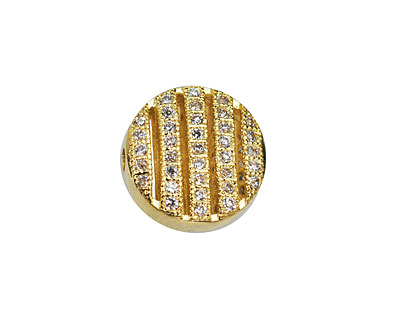 Gold (plated) CZ Micro Pave Coin 11mm