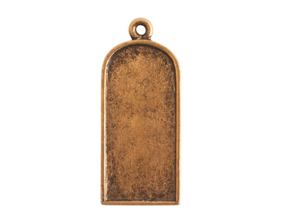 Nunn Design Antique Gold (plated) Ornate Flat Tablet Tag 13x30mm