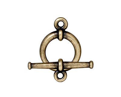 TierraCast Antique Brass (plated) Large Tapered Toggle Clasp 20mm, 25mm bar