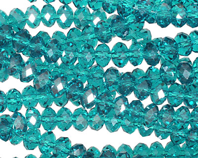 Teal Crystal Faceted Rondelle 6mm
