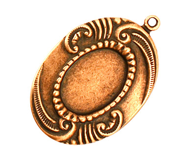 Stampt Antique Copper (plated) Sweeping Feather Oval Setting 13x18mm