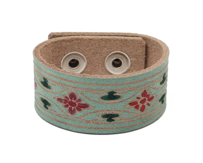 Hand Painted Aqua Floral Craftsman Print Leather Cuff 1 1/16