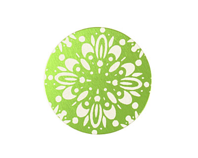 Lillypilly Lime Green Kaleidoscope Anodized Aluminum Disc 25mm, 24 gauge