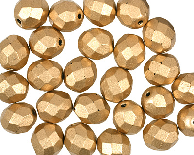 Czech Fire Polished Glass Matte Metallic Flax Round 8mm