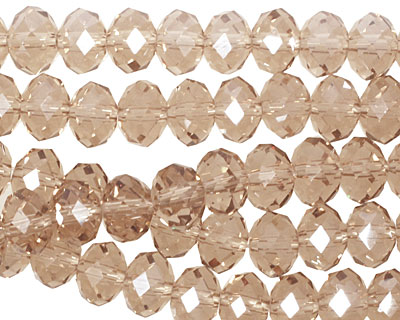 Khaki Crystal Faceted Rondelle 8mm