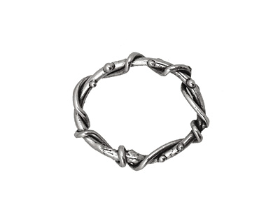 Rustic Charms Sterling Silver Twisted Oval Link 22x19mm