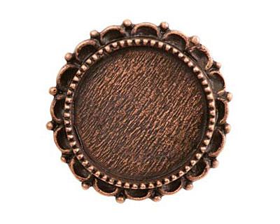 Nunn Design Antique Copper (plated) Large Ornate Circle Screw Back Bezel 30mm