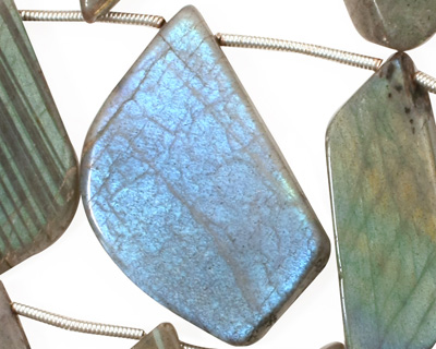 Labradorite Flat Freeform Drop 11-27x19-29mm
