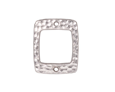 TierraCast Rhodium (plated) Drilled Hammertone Rectangle Ring 21x18mm