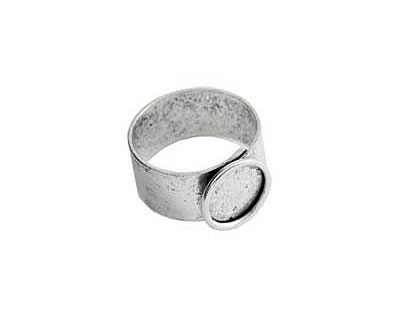 Nunn Design Antique Silver (plated) Small Circle Frame Adjustable Ring 13mm