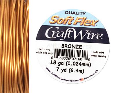 Soft Flex Bronze Craft Wire 18 gauge, 7 yards