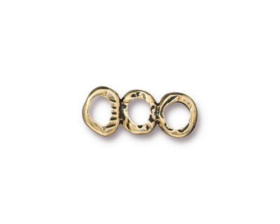 TierraCast Antique Gold (plated) 3 Ring Bar Link 19x7mm