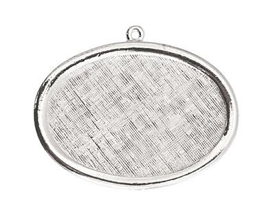 Nunn Design Sterling Silver (plated) Large Horizontal Oval Framed Pendant 42x30mm
