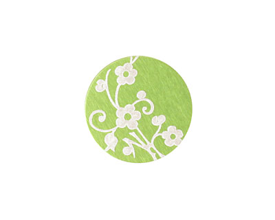 Lillypilly Lime Green Floral Vine Anodized Aluminum Disc 19mm, 24 gauge