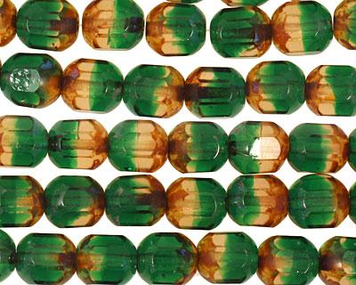 Czech Glass Evergreen Faceted Barrel 8x7mm