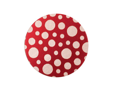 Lillypilly Red Scattered Dots Anodized Aluminum Disc 25mm, 24 gauge
