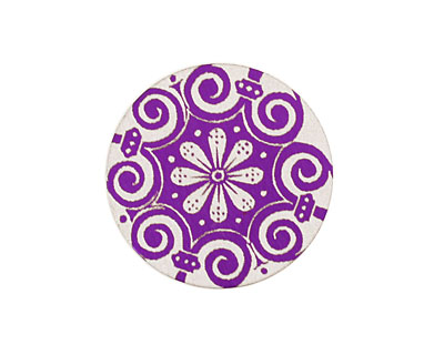Lillypilly Purple Scrolling Daisy Anodized Aluminum Disc 25mm, 24 gauge