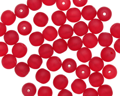 Czech Glass Matte Ruby Round 6mm