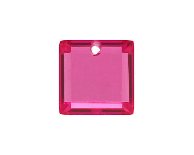 Ruby Pink Faceted Square 18mm