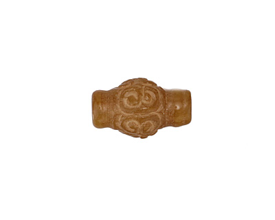 Gold Soochow Jade Swirl Carved Lantern 17x10mm