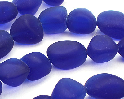 Royal Blue Recycled Glass Small Nugget 12-17x10-12mm