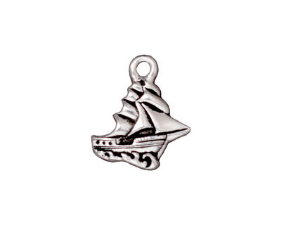 TierraCast Antique Silver (plated) Clipper Ship Charm 16x19mm