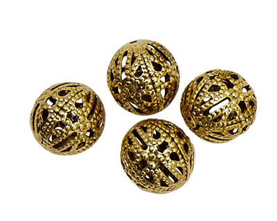 Stampt Antique Gold (plated) Filigree Ball 12mm