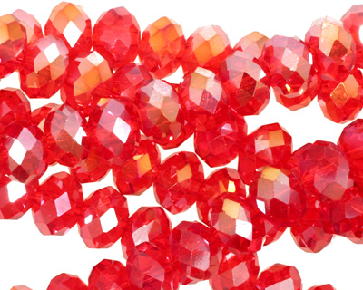 Siam Ruby AB Crystal Faceted Rondelle 8mm