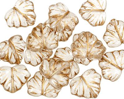 Czech Glass Crystal w/ Gold Maple Leaf 10x13mm