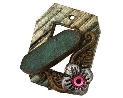 Poison Tree Polymer Clay Green Flower Toggle Clasp 24x20mm, 21mm bar