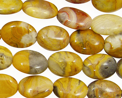 Crazy Lace Agate (yellow) Flat Oval 14x10mm