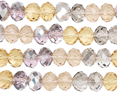 Silk Crystal Mix Faceted Rondelle 8mm