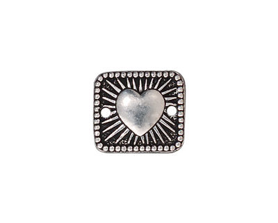 TierraCast Antique Silver (plated) Radiant Heart Link 16x14mm