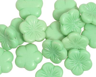 Czech Glass Apple Green (matte) 5 Petal Daisy 14mm