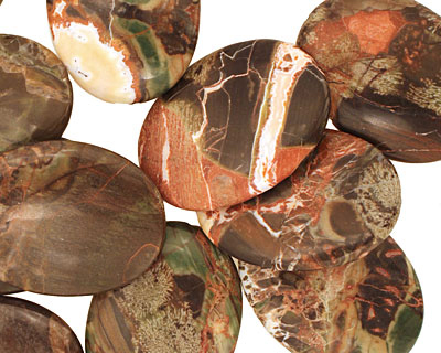 Red Forest Agate Flat Oval 40x30mm