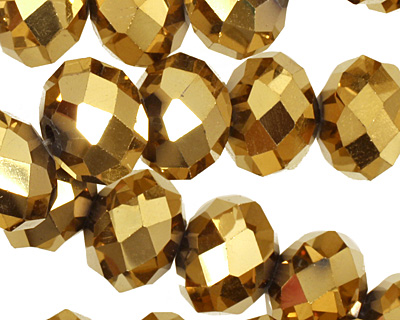 Metallic Antique Gold Crystal Faceted Rondelle 14mm
