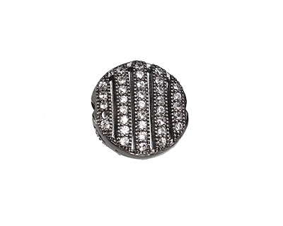 Gunmetal CZ Micro Pave Coin 11mm