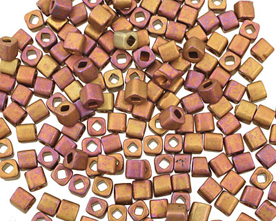 TOHO Higher Metallic Frosted Copper Twilight Cube 4mm Seed Bead