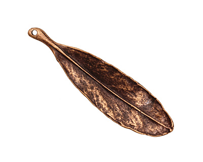 Ezel Findings Antique Copper Blue Jack Oak Leaf Pendant 11x40mm