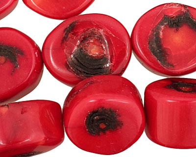 Coral Oval Nugget 18-21x14-18mm