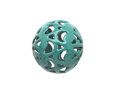 Painting with Fire Torch Fired Enamel Spruce Green Arabesque Round 20mm