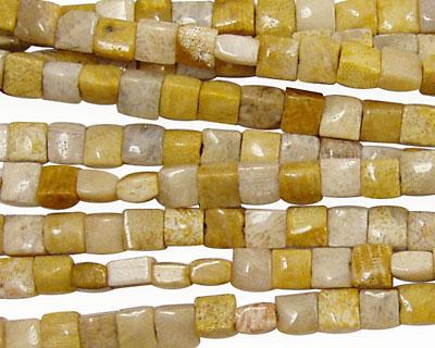 Fossil Jasper Puff Square 4mm