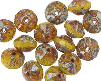 Czech Glass Mustard Seed Picasso Saucer 7x11mm